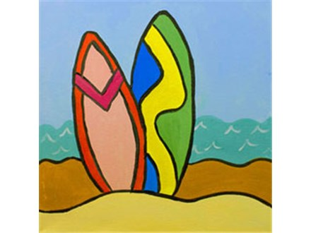 Surf's Up! Kids Canvas Painting