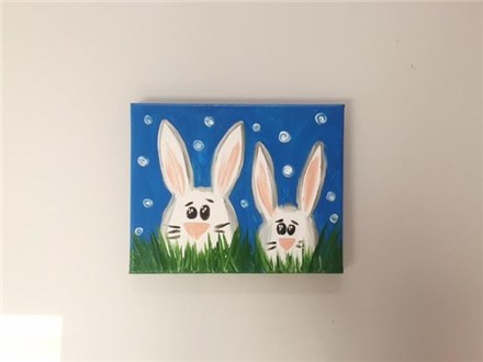 """""""Baby Bunnies"""" (mommy/daddy and me ages 4+) canvas class"""