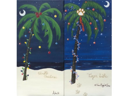 Palmetto Palm - optional to paint with holiday design (10x20 canvas)