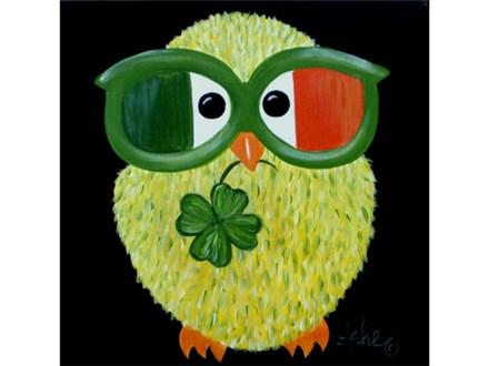 Irish Owl - 12x12 canvas