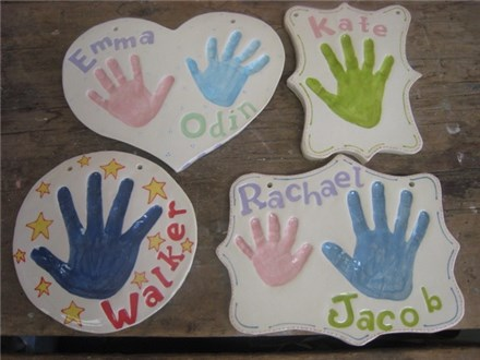 Handprints in Clay Keepsake Ornaments & Plaques