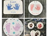 Handprints in Clay Keepsake Ornaments & Plaques