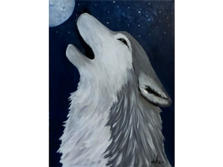 Howling at the Moon - 12x16