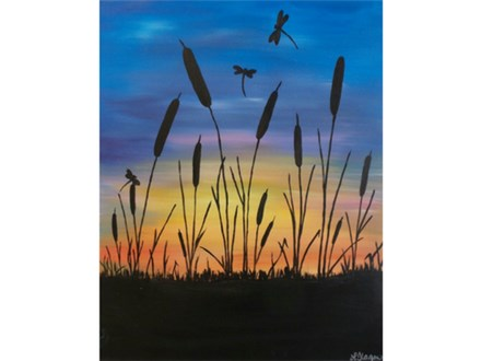 Cattails and Dragonflies  16x20 canvas