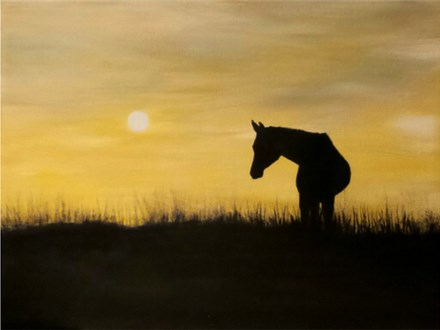 Horse Sunset - 12x16 canvas. *welcome to bring your own b&w printed copy of your animal. We'll help transfer the image.