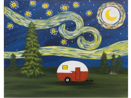 Summer Starry Night - choice colors for camper - 16x20 canvas