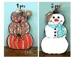 Pumpkin & Snowman Door Hanger