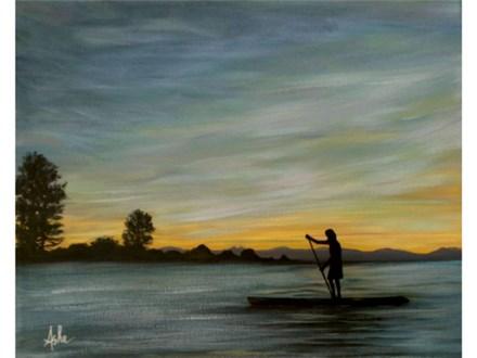 Sunset Lake - 16x20 canvas