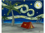 Starry Night Beach Camping - choice colors for tent or camper.