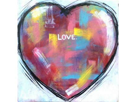 Add any word / message inside heart. Backgrounds will differ. 12x12 canvas