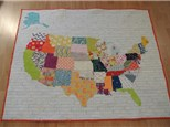 us map appliqued quilt or wall-hanging