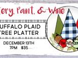 Pottery, Paint, & Wine Buffalo Plaid Tree Platter @ The Pottery Patch