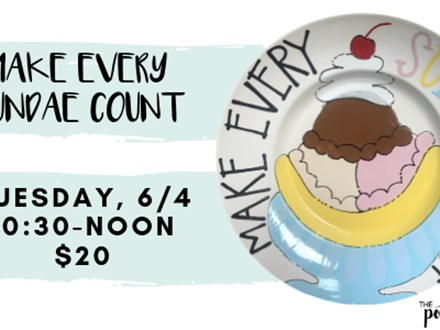 Pottery Patch Camp Tuesday, 6/4 (10:30A-NOON) POTTERY: Make Every Sundae Count