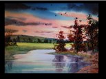 "08/17 GA-Watercolor: ""Early Morning at the Lake""  10 AM $45"