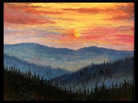 Oil: Guest Artist: Great Smokey Mountains at Dusk 03/03