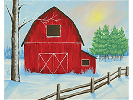 Winter Farm Canvas Painting Class at CozyMelts