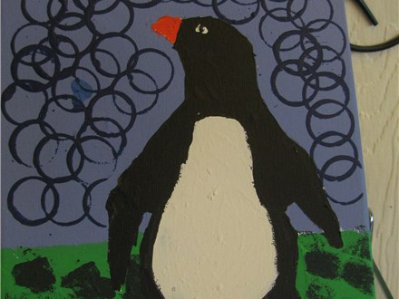 School's Out Mixed Media Penguin Painting at Artisan You!