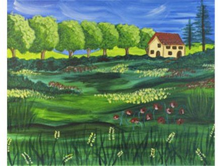 Late Summer in Tuscany Canvas Painting Class at CozyMelts