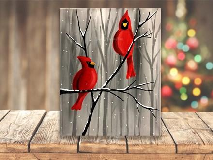 """Winter Cardinals"" Canvas Sip & Paint Event ages 21 & up 11/25/20"