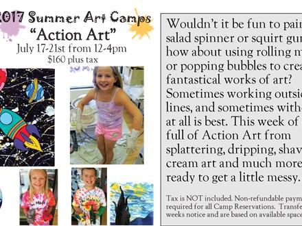 """Week Long Summer Art Camp: """"Action Art"""" July 17-21st, 2017"""