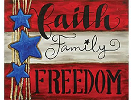 Faith, Family, Freedom Canvas Class at CozyMelts