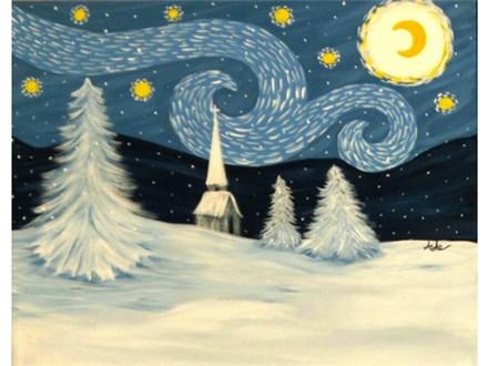 Snowy Starry Night - 16x20 canvas