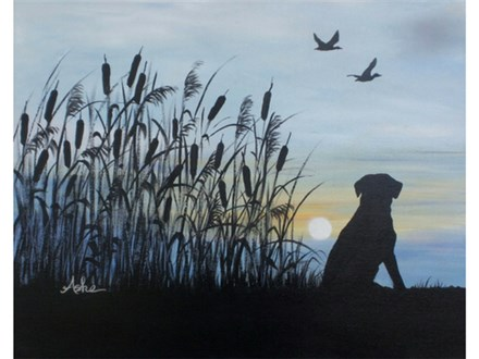 Duck Dog Sunrise - 16x20 canvas