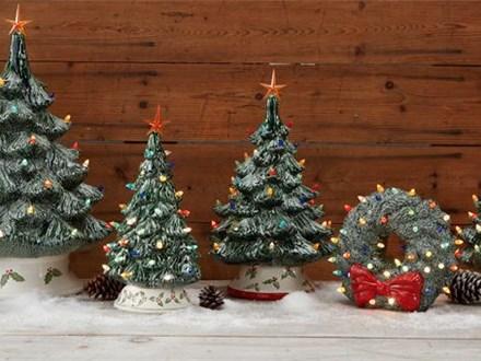 Vintage Light Up Christmas Trees/Wreath