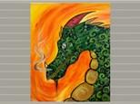 Kids Canvas Class - Green Dragon - Friday, September 28