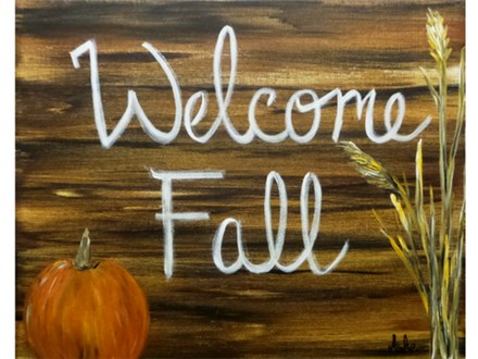 Welcome Fall - any message can be added to canvas