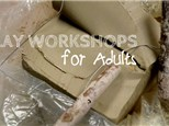 Clay workshops for adults!  A fun night out of gettin' muddy!