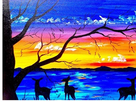 Deer and Sunset Lake - Canvas - Paint and Sip