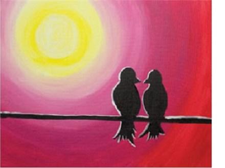 Canvas & Wine Night!  Love Birds!  2/13/17