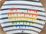 Summer Camp Monday, July 16th Rainbow Drip Heart Platter with Stripes