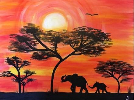Canvas & Wine Night! Elephants on Safari! 7/17/17