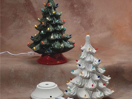 """Small Christmas Tree—9.5"""" on base  Regular Price $110 (limited qty)  Pre Order Price $85     Large Christmas Tree—12"""" on base  Regular Price $160 (limited qty)  Pre Order Price $120"""