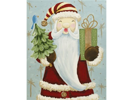 Father Christmas Canvas Painting Class at CozyMelts