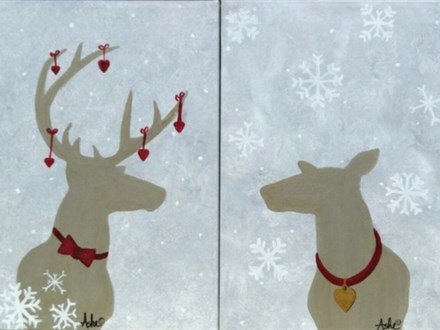 Deer Valentine - *welcome to decorate the painting as desired. Stencils provided for the deer.