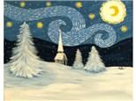 Snowy Starry Night - 16x20