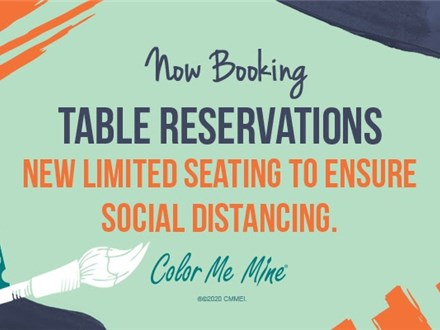 Table Reservation for 1-2 Painters at Color Me Mine - Highland Village, TX