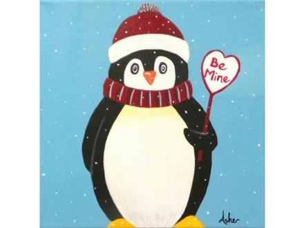 Valentine Penguin - add any message inside the heart.