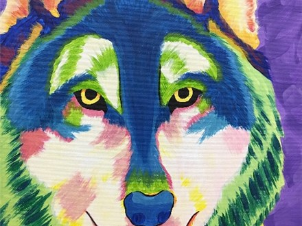 Colorful Wolf Canvas Paint and Sip Event
