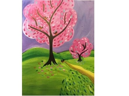 Canvas & Wine Night! Spring into Pink!  4/7/16