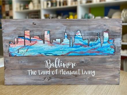 Mt. Washington Baltimore Skyline Pallet Board Date Night - Feb 14th
