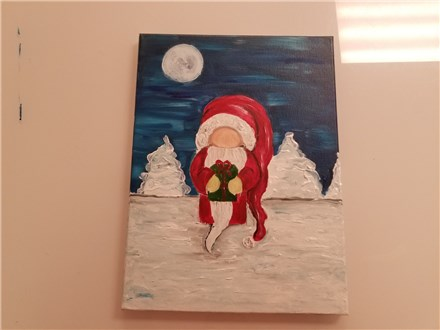Gnomey Claus Adult Canvas Class $35