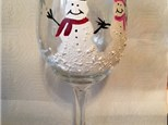 Snowman Wine Glass Painting - January 31st