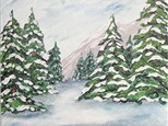 Canvas & Wine Night!  Snow on the Pines!  12/26/16