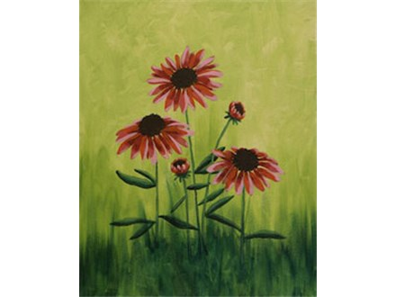 Field Flowers Canvas Painting Class at CozyMelts
