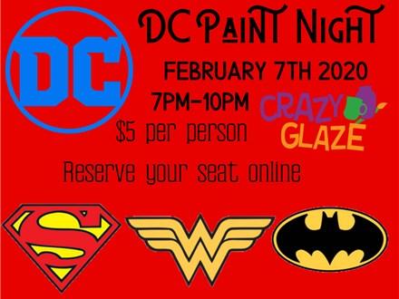 DC Comics Paint Night at Crazy Glaze