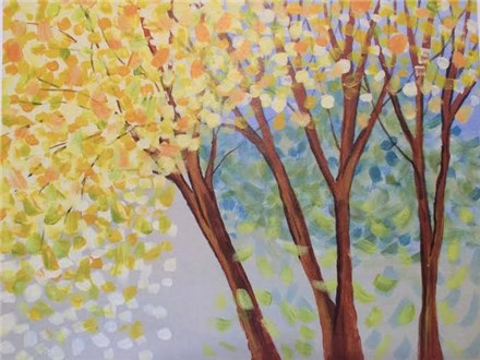 Canvas & Wine Night!  Yellow Maples!  3/31/16